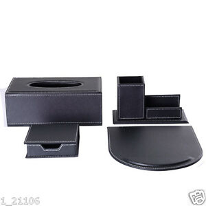 Wholesale 4pcs set Home office Pu Leather Desk Stationery Organizer Storage Box