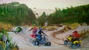 Rare  Oregon sand dunes 4 wheelers ATV acrilic painting 26 1/2 x 22 1/2 inches