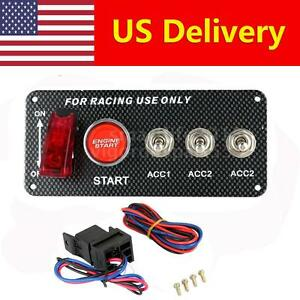 Racing Car Ignition Switch Panel 3 Toggle Engine Start Push Button Led Toggle