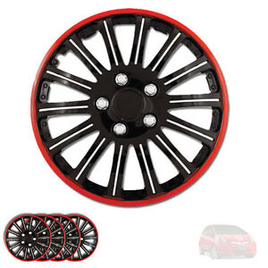 New 15 Inch Black W Red Rim Wheel Hubcaps Cover Lug Skin Set For Honda 527