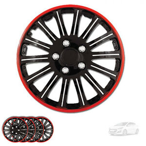 New 15 Inch Black W Red Rim Wheel Hubcaps Cover Lug Skin Set For Hyundai 527