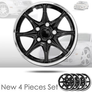 New 15 Inch Black Hubcaps Wheel Covers Full Lug Skin Hub Cap Set 522 For Vw