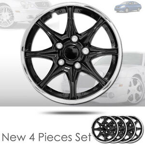New 15 Inch Black Hubcaps Wheel Covers Full Lug Skin Hub Cap Set 522 For Nissan