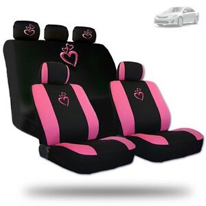 Deluxe Pink Heart Car Seat Covers And Headrest Covers Gift Set For Toyota