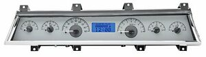 1966 1967 Chevelle Ss Dakota Digital Silver Alloy Blue Vhx Analog Gauge Kit