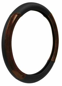 Custom Grip Leather Wood Grain Steering Wheel Cover Black 35600