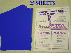 Press n peel Blue Pcb Transfer Paper Film Etch Circuit Board Jewelry 25 Sheets
