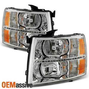 Fit 2007 2013 Chevy Silverado 1500 2007 2014 2500hd 3500hd Clear Led Headlights