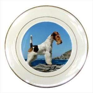Wire Fox Terrier Porcelain Plate W Display Stand Dog