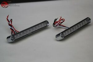 Red Led Clear Lens Turn Signal Tail Light Bars Chrome Bezel Truck Hot Rat Rod