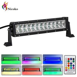 72w 12inch Led Light Bar With Rgb Halo Ring Offroad Lights Jeep Lights Foglights