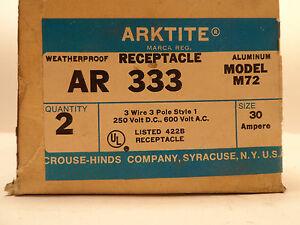 2 Nos Crouse hinds Arktite Ar 333 Sleeve Pin Receptacle 30a Amps 250vdc 600vac