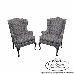 Hickory Chair Solid Mahogany Pair Of Queen Anne Style Wing Chairs