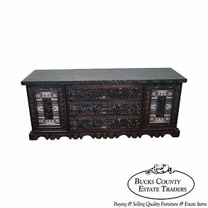 Witco Tiki Elvis Jungle Room Carved Redwood Long Triple Dresser