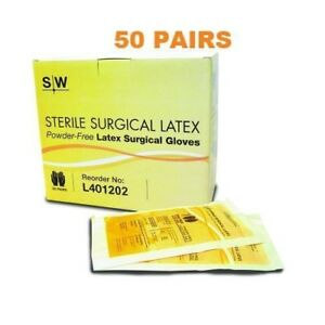 Sterile Powder free Surgeons Gloves Surgical Glove Size 7 5 50 Pairs Per Box