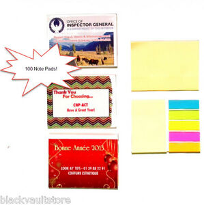 Bulk Lot Of 100 Misprint Sticky Note Pads With Colored Sticky Flags