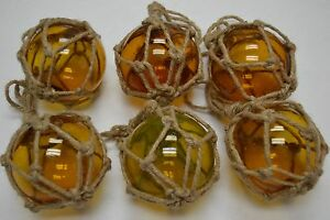 6 Pcs Reproduction Amber Glass Float Ball Buoy With Fishing Net 4 F 510