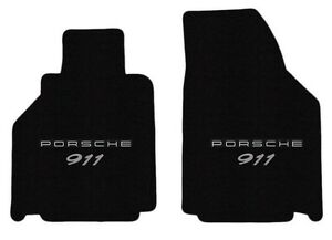 New 2001 2004 Black Floor Mats Porsche 911 996 Silver Embroidered Double Logo