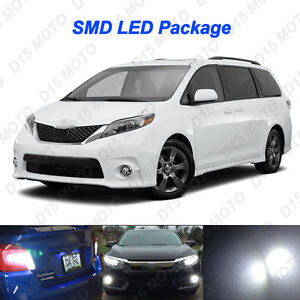 17x Ultra White Led Interior Reverse Fog Lights For 2011 2017 Toyota Sienna