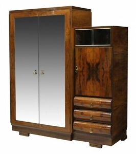 Gorgeous Italian Walnut Art Deco Armoire Antique