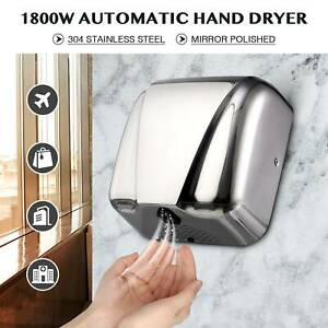 Commercial Electric Hand Dryer Machine Touchless Auto Air Stainless Steel 1800w