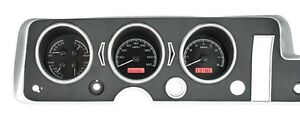 1968 Gto Lemans Tempest Dakota Digital Black Alloy Red Vhx Analog Gauge Kit