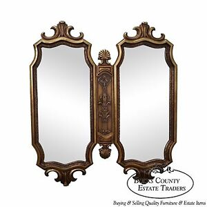 Hollywood Regency Vintage Gold 2 Section Wall Mirror