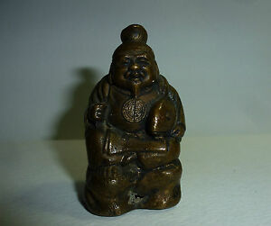 Japanese Antique Okimono Bronze Statue Hotei Buddha Holding Fish Marked