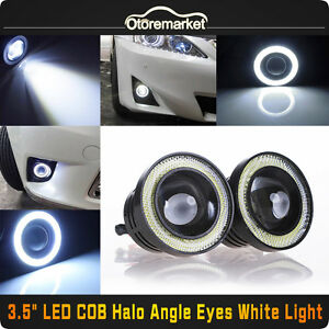 2pcs 3 5 Cob Led Fog Light Projector Car White Angel Eyes Halo Ring Drl Lamp