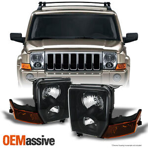 Fits 06 10 Jeep Commander Suv Amber Black Headlights Front Lamp Replacement Pair
