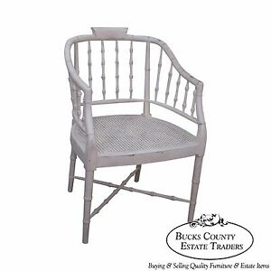 Century White Painted Faux Bamboo Barrel Back Arm Chair