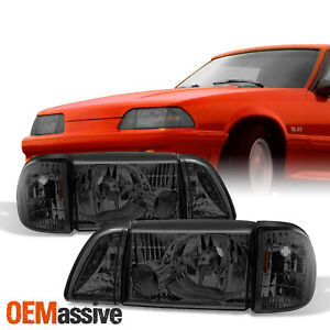 Fit 87 93 Mustang Smoke Headlights W Corner Parking 6pcs Complete Replacement