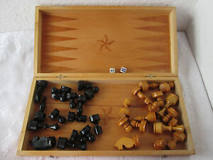 13 Vintage Wooden Checkerboard Game Chess Backgammon Box Folding Board Figures