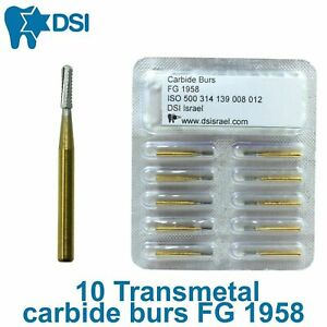 10pcs Transmetal Dental Crown Cutter Tungsten Carbide Burs Golden Shank Usa