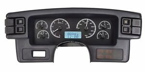 1987 89 Ford Mustang Dakota Digital Black Alloy White Vhx Analog Gauge Kit