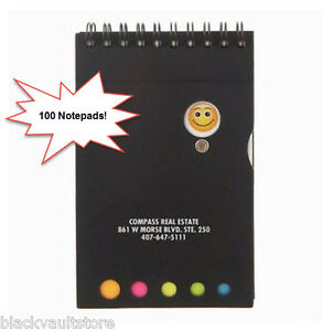 Bulk Lot Of 100 Misprint Emoji Spinner Spiral Notepad W Colored Sticky Flags