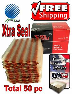 50 Xtra Seal Tire Plug Seals 100 Self Vulcanizing Tubeless Tire Repair 12 361