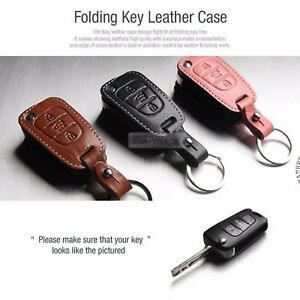 Folding Key Genuine Leather Case Cover Holder Pouch Key Chain For Kia 3button