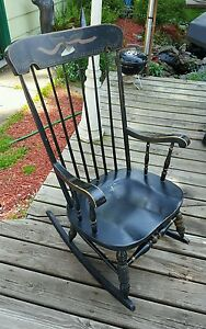 Vintage Adult Spindle Back Rocking Chair Black With Arms Gold Accents Americana