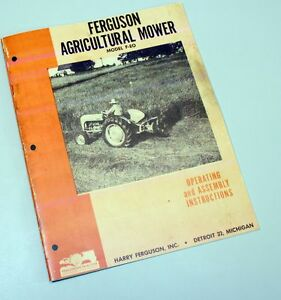 Ferguson F eo Feo Bar Sickle Mower Owners Operators Manual Operating Ford Harry