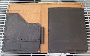 Saddleback Leather Old Style Script Logo Medium Notepad Holder Carbon Veg tanned