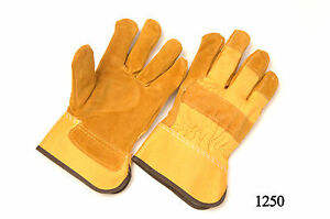 Lot Of 12 Pair Work Gloves Leather Palm Rubberized Cuff Lined Palm Large