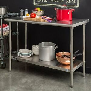 Rolling Stainless Steel Cart Work Bench Table Food Prep Kitchen Garage Utility