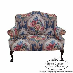 Quality Chippendale Mahogany Claw Foot Loveseat W Floral Tapestry Upholstry