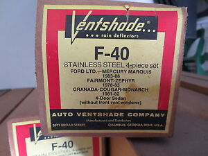Ventshades F 40 1978 86 Ford Mercury Couger Nos Never Used Rare