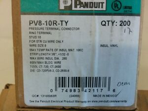 Panduit Size 8 Crimp Ring Terminal Box Of 200 With Free Shipping Ul Approved