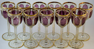 Moser Set Of Eleven Ruby Red Cabouchon Wine Goblets