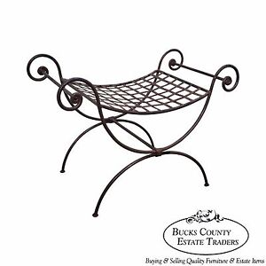Quality Regency Style Iron Curule Bench