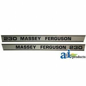 Massey Ferguson 230 Hood Decal Set