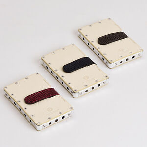 Aero Concept Business Card Case Emijah W Aircraft Lizard Leather Em 10 w White